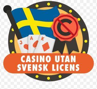 """Texten """"Casino utan svensk licens"""" under en svensk flagga och tre spelkort."""